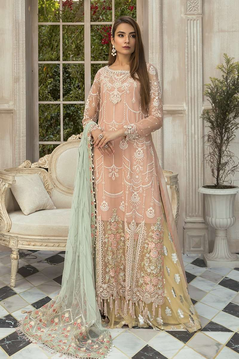 Ladies Un Stitch 3pcs Mbroidered Eid Collection By Maria.B Pink (BD-1907)