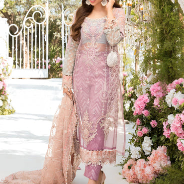 Ladies Un-Stitch Mbroidered Eid Collection (Shades of Lilac Pink and Blue grey BD-2105)