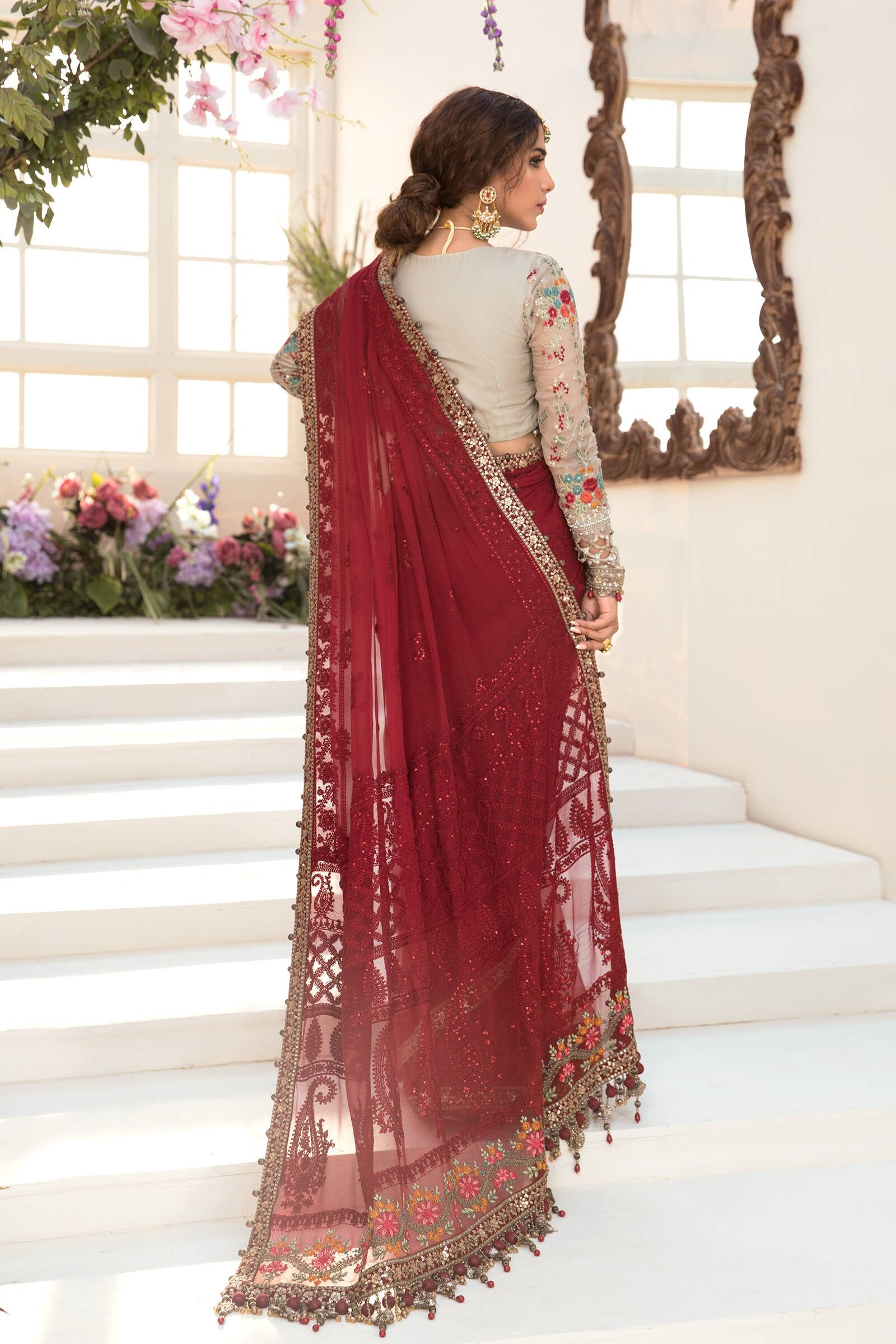 Ladies Un-Stitch Mbroidered Eid Collection (Deep red and Beige BD-2107)