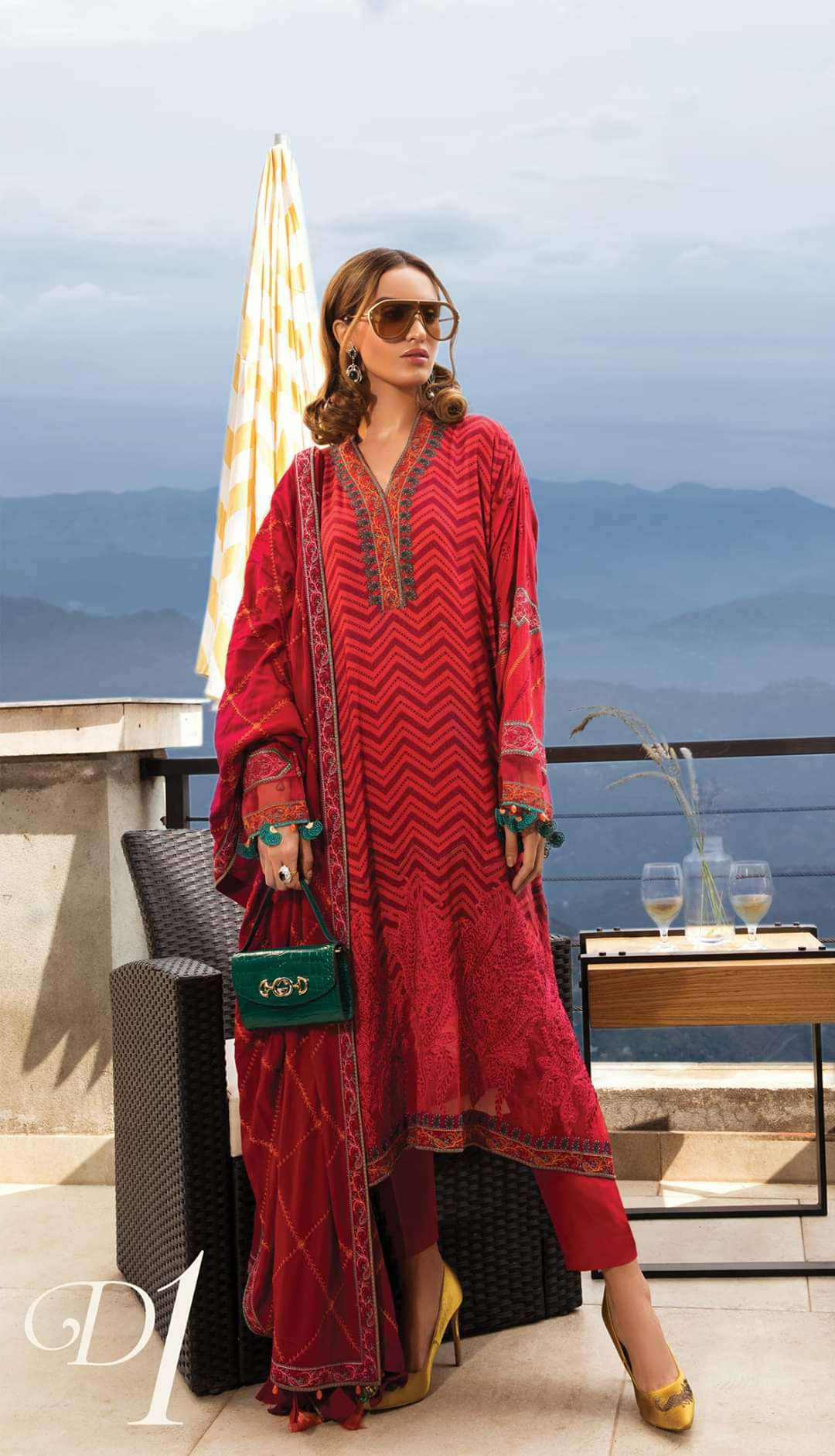 Ladies Un-Stitch Maria.B Linen 2019 DL-701 Fuchsia Pink