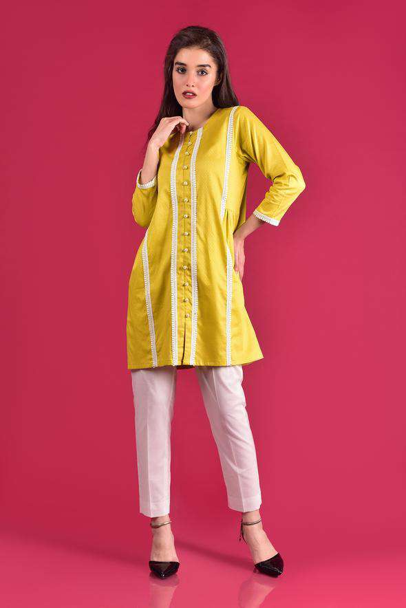 Mosaic - 2 Piece Ready To Wear Suit - Lime Cotton Jackard