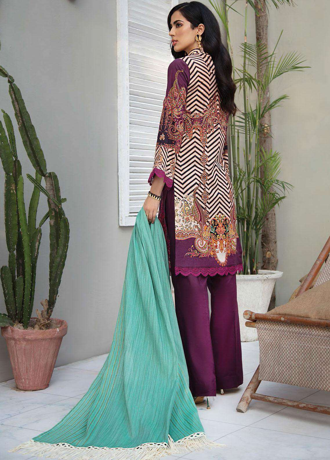 Ladies Un-Stitch RajBari Embroidered Lawn Voil Edit '21 (1B)