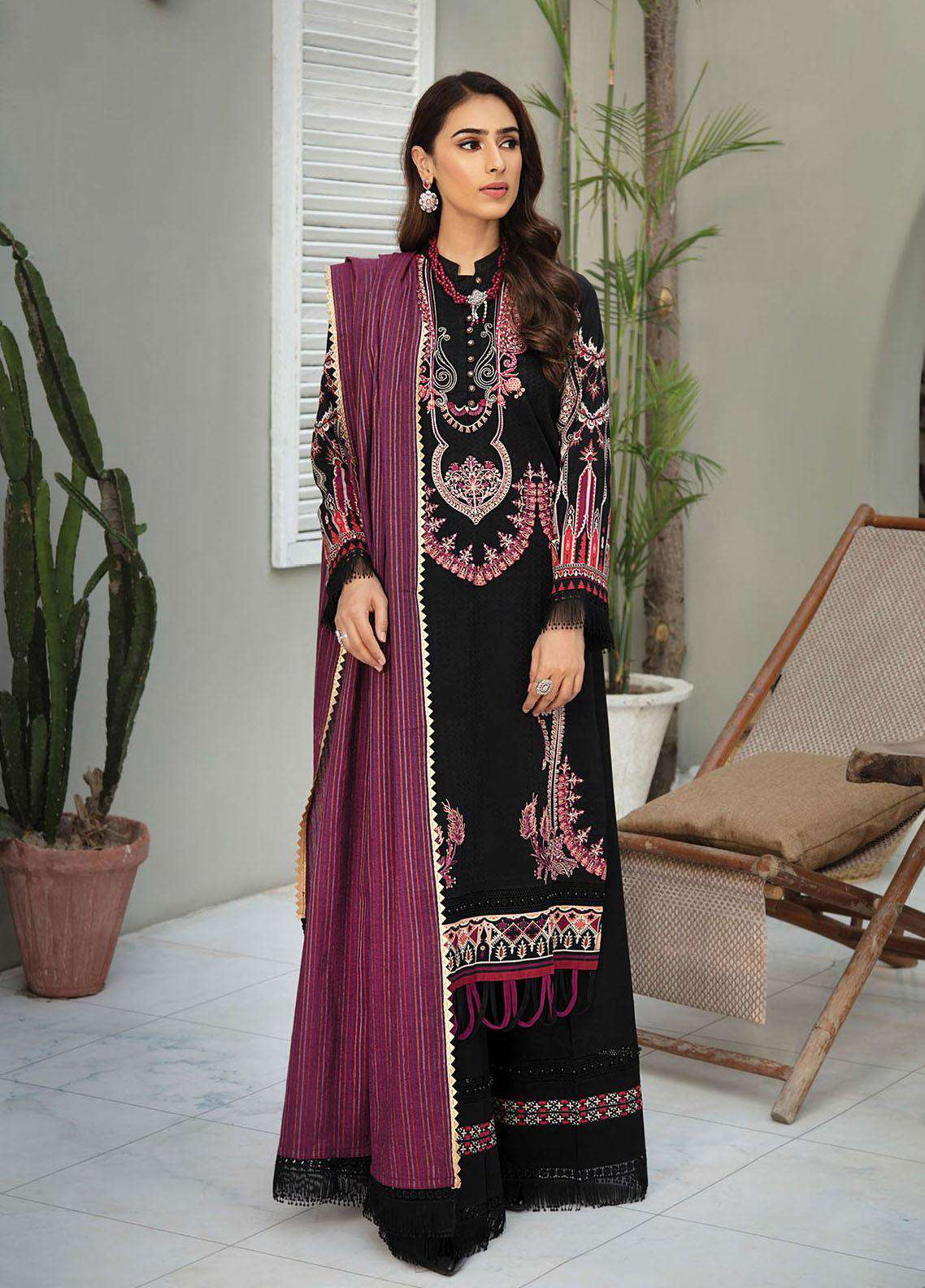 Ladies Un-Stitch RajBari Embroidered Lawn Voil Edit '21 (7A)