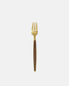 Small Fork with Wood-Effect Handle in Gold