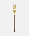 Fork with Wood-Effect Handle in Gold