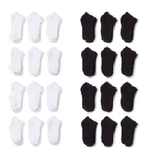 Load image into Gallery viewer, 24 Pairs Men Low Cut Socks 9-11 or 6-8 Black or White or Mixed (6-8, Black)