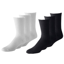 Load image into Gallery viewer, Unisex Classic Crew Athletic Sports Cotton Socks 24 Pack (10-13, Black)