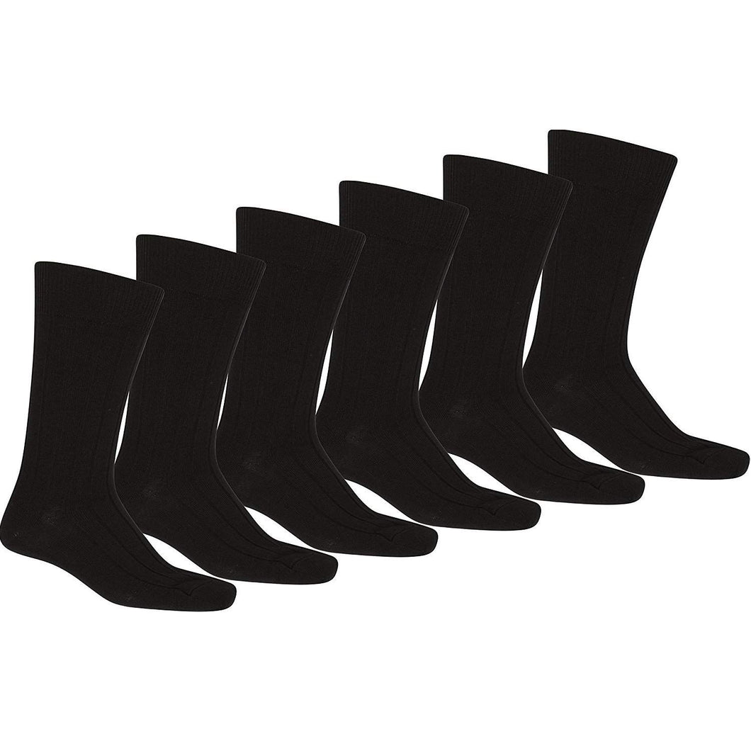 Mechaly Men 24 Pack Solid Plain Dress Socks in Black - Bulk Wholesale (10-13)