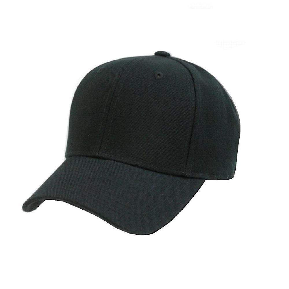 Qraftsy Plain Polyester Unisex Baseball Cap - Blank Hat with Solid Color (Black)
