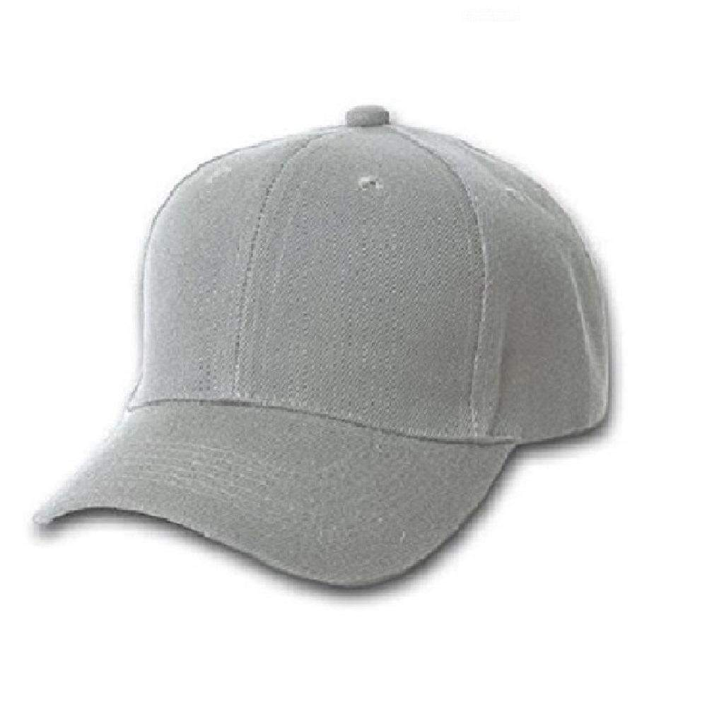 Set of 4 Qraftsy Solid Polyester Unisex Baseball Caps - Plain Hat (Grey)