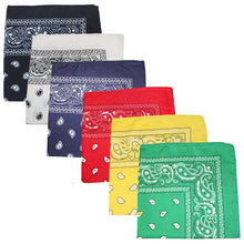 Load image into Gallery viewer, Unibasic Bulk Wholesale Unisex Cotton X-Large Paisley and Plain Bandana - 240 Pack