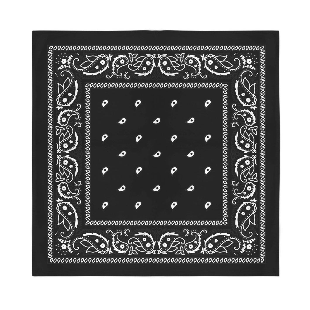 11 Pack XL Non Fading Paisley Polyester Bandanas 27 x 27 In - Bulk Wholesale (Black)