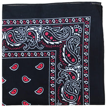 Load image into Gallery viewer, Pack of 120 Mechaly Paisley Cotton Bandanas - Bulk Wholesale (Black)