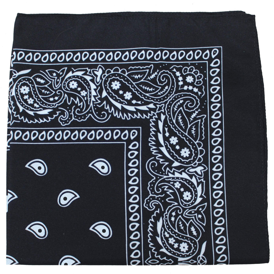 Pack of 6 X-Large Paisley Cotton Printed Bandana - 27 x 27 inches (Black)