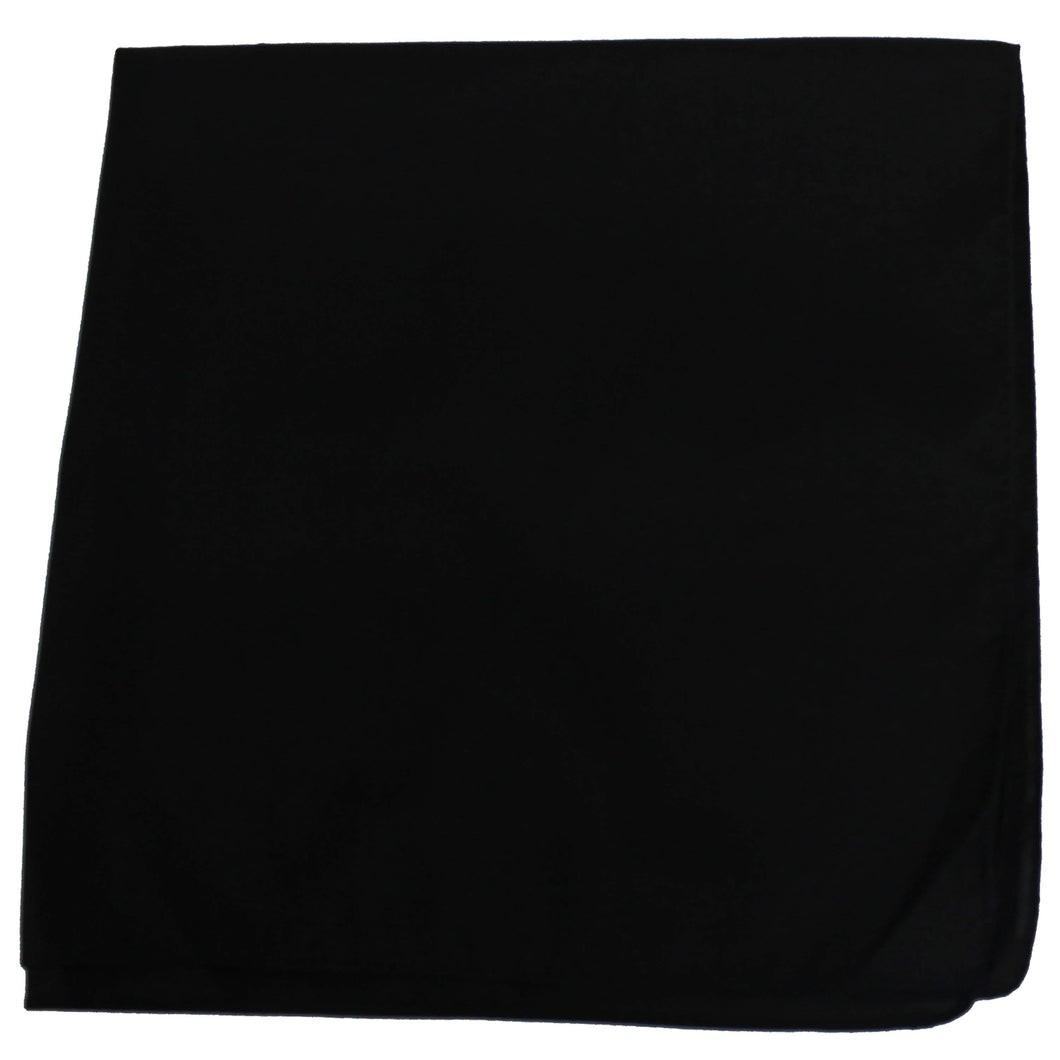 48 Pack Solid Extra Large Sewn Edges Polyester Bandanas - 27 x 27 Inch - Bulk Lot (Black)