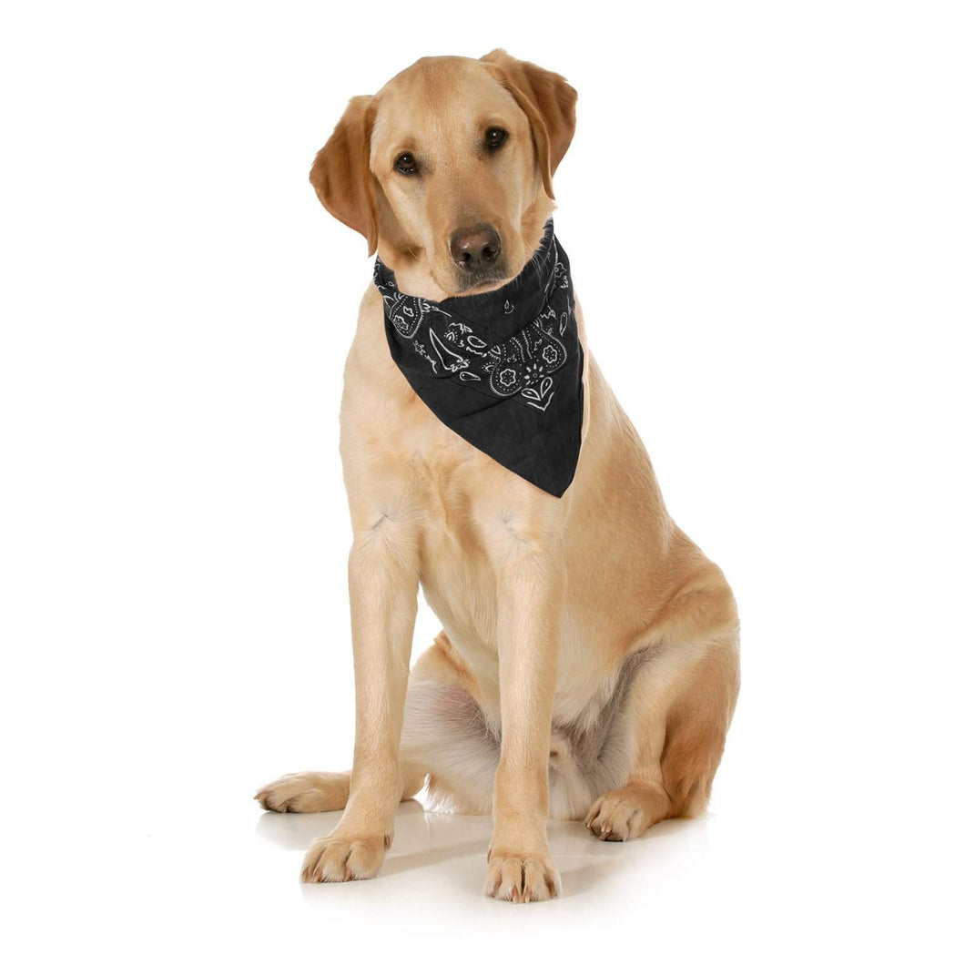 Balec 5-Pack Paisley Cotton Dog Scarf Triangle Bibs  - XL & Washable (Black)