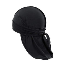 Load image into Gallery viewer, Pack of 12 Durag Headwrap Headscarf Bandana Doo Rag Long Tail (Black)