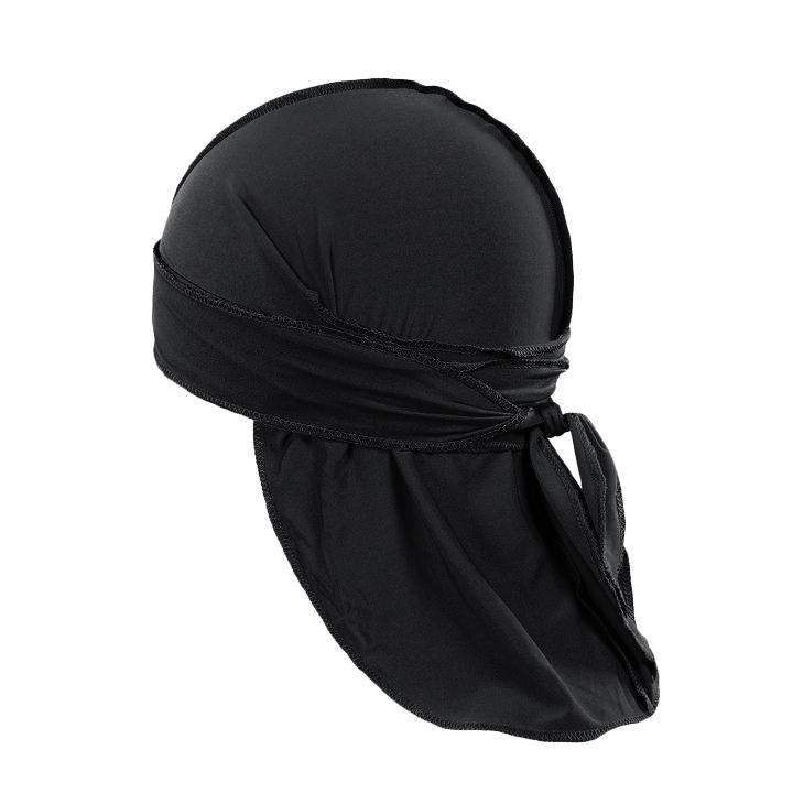 Pack of 12 Durag Headwrap Headscarf Bandana Doo Rag Long Tail (Black)