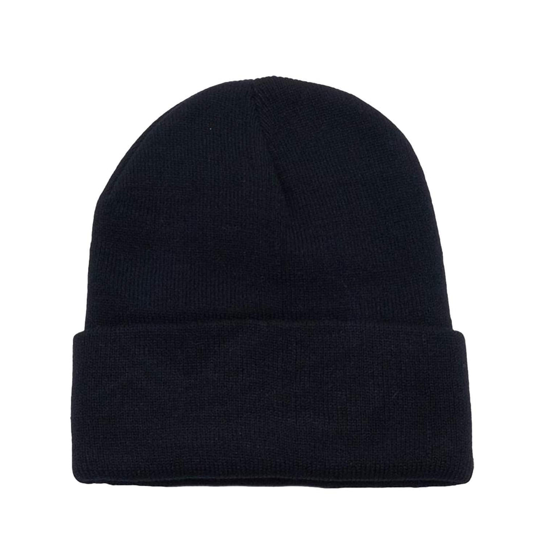 6 Pack Plain Long Cuffed Beanie for Mens and Womens Skulls (Black)