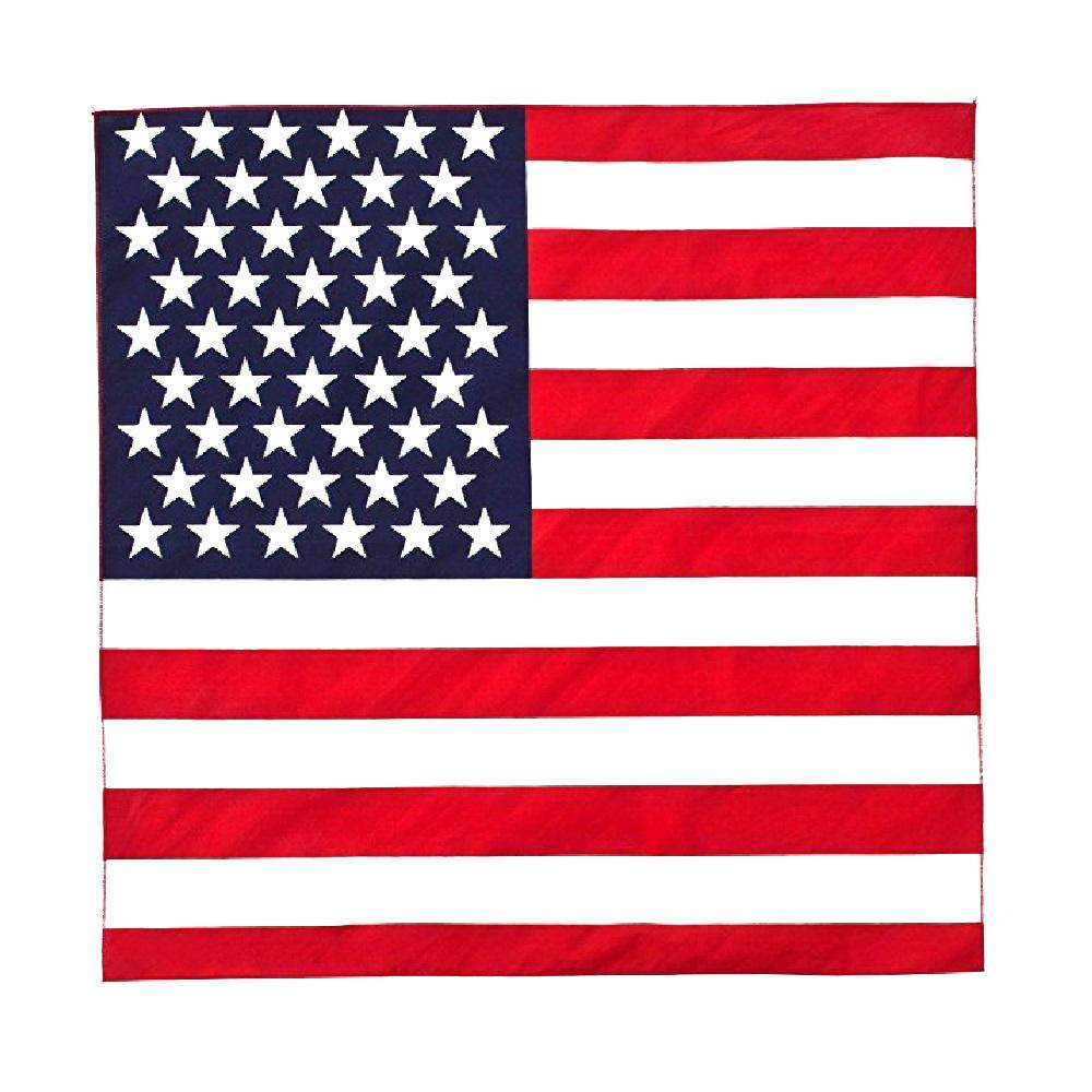 American Flag Bandana Cotton - 21 inches - Bulk Wholesale Packs (1 Pack)