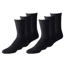 Load image into Gallery viewer, Unisex Crew Athletic Sports Cotton Socks  48 Pack (10-13, Black)