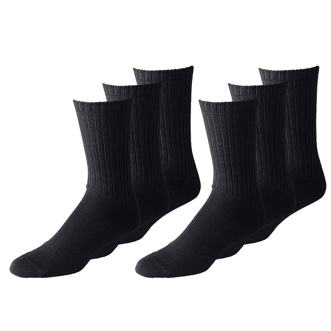 Unisex Classic Crew Athletic Sports Cotton Socks 24 Pack (10-13, Black)