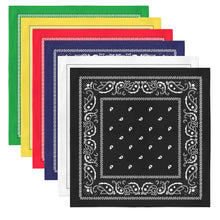 Load image into Gallery viewer, 11 Pack XL Non Fading Paisley Polyester Bandanas 27 x 27 In - Bulk Wholesale (Black)