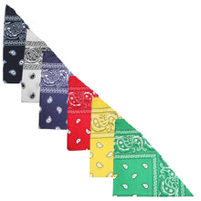 Load image into Gallery viewer, Pack of 8 Paisley Cotton Dog Bandana Triangle Shape  - One Size Fits Most (Black)