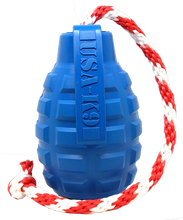 Load image into Gallery viewer, USA-K9 GRENADE DURABLE RUBBER CHEW TOY, TREAT DISPENSER, REWARD TOY, TUG TOY, AND RETRIEVING TOY - BLUE