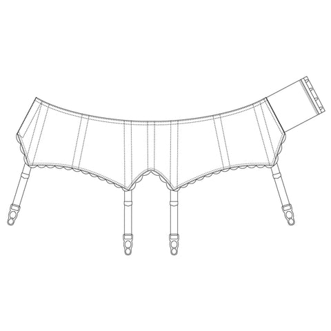 The Underpinnings Museum - c. 1950s Ribbon Stripe Suspender Belt