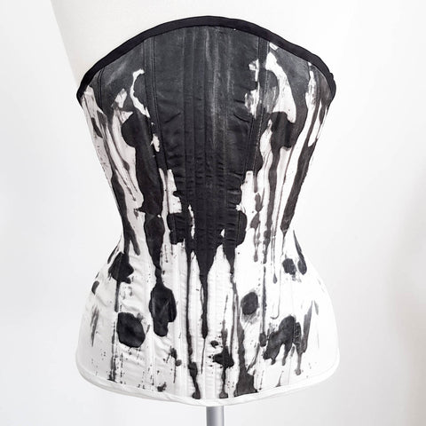 "SAMPLE Hand Painted Satin Overbust Corset - 21"" Waist"