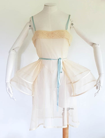SAMPLE Robe De Style Slip With Panniers In Bobbinet Tulle, Needle Lace & Silk Ribbon - Size UK 10 Only