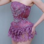 "SAMPLE Foxglove Satin Overbust Corset With French Lace Appliqué & Draped Pearls - 20"" Waist"