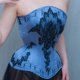 "SAMPLE Blue Silk Overbust Corset With Lace Appliqué, Flossing & Swarovski Crystals - Size 20"" Waist"