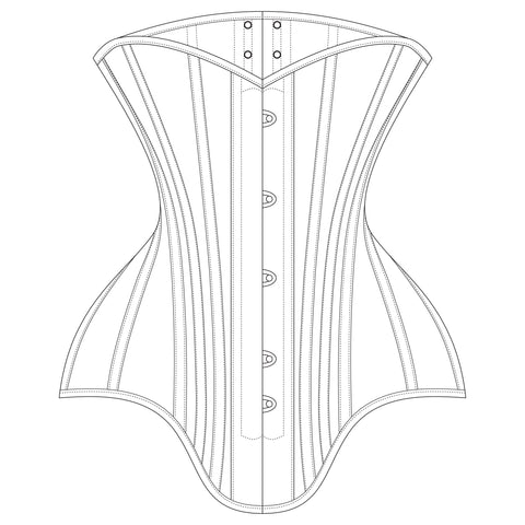 The Underpinnings Museum - c. 1900s 4 Panel Midbust Corset Pattern