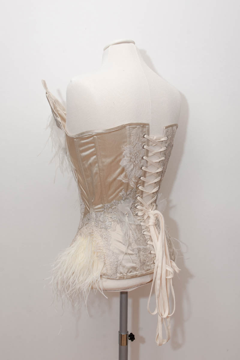'Odette' Satin Overbust Corset With Ostrich Feather Hips & Lace Appliqué