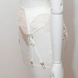SAMPLE - Embroidered & Beaded Lace & Silk 8 Strap Suspender Belt - Size UK 10-12 Only