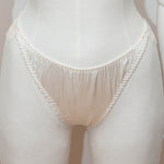 SAMPLE - Embroidered & Beaded Lace & Silk High Leg Briefs - Size UK 12 Only