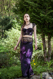 SAMPLE Dark Clematis Silk Longline Bra & Bias Cut Skirt With Lace Appliqué - 30D/32C/34B & UK 10