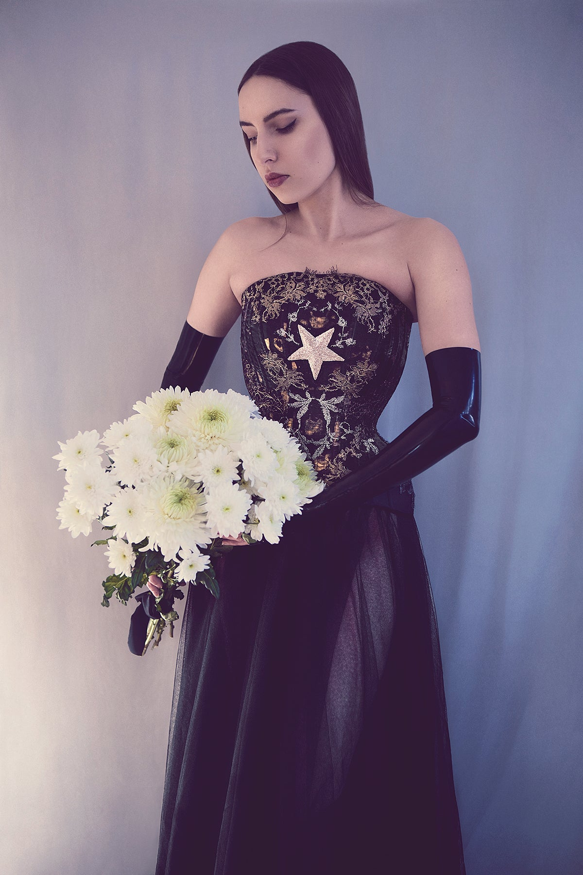 'Hecate' High Neck Overbust Corset With Lace Appliqué & Antique Bullionwork