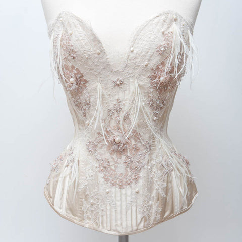 "SAMPLE Biscotti Corset With French Lace Appliqué, Pearls & Ostrich Feathers - 21"" Waist"
