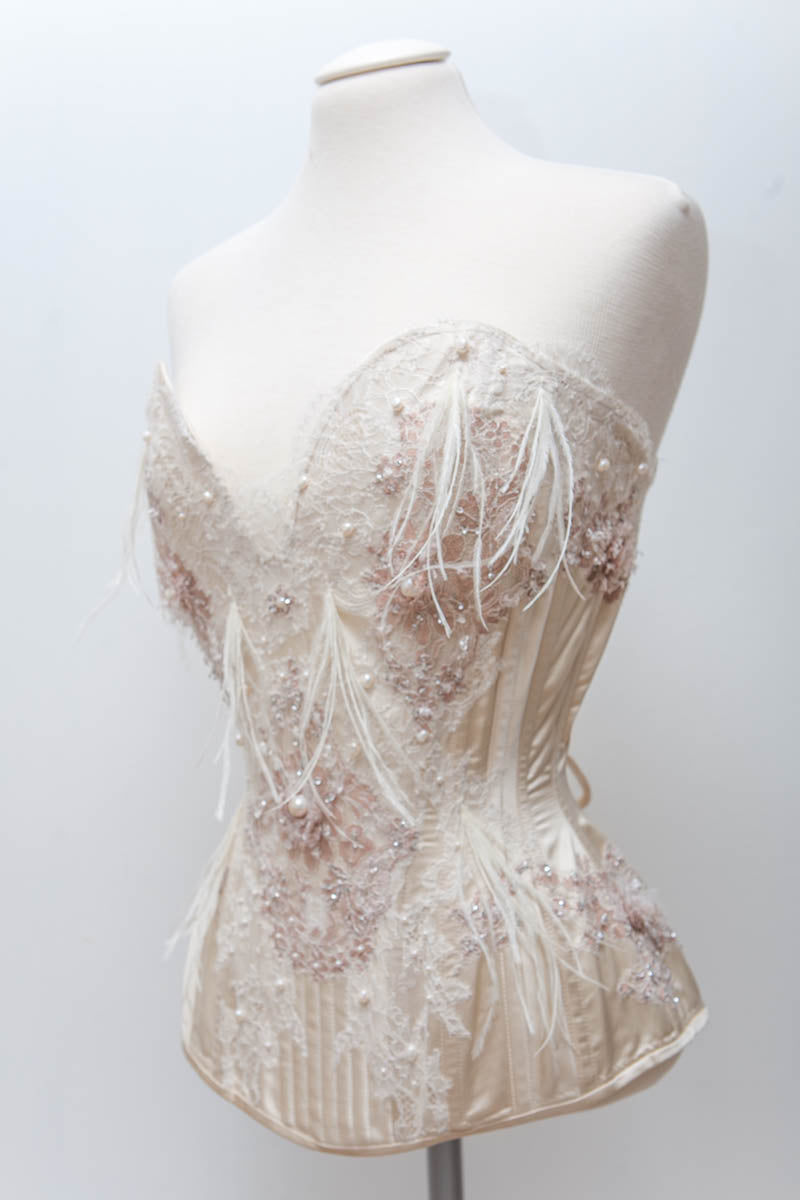 'Biscotti' Plunge Corset With Lace Appliqué, Ostrich Feathers & Pearls