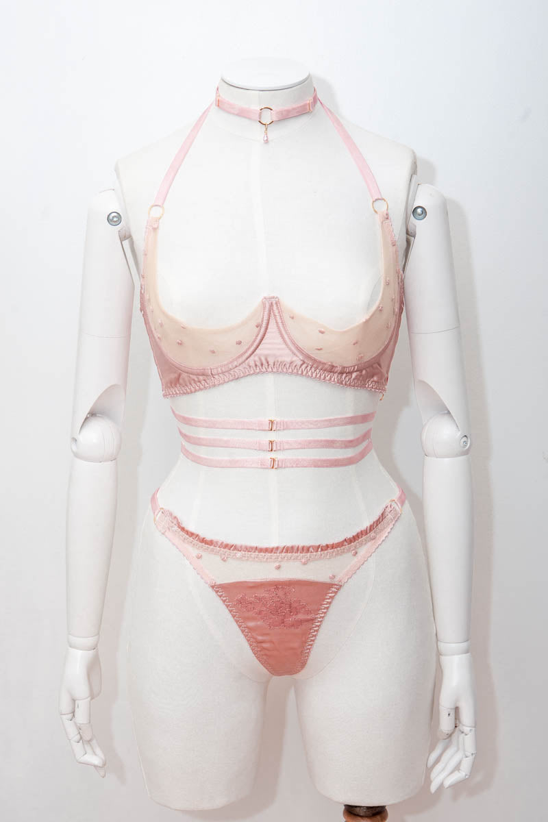 'Logandria' Silk & Embroidered Tulle Lingerie Set