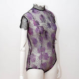 SAMPLE Hand Painted French Lace Bodysuit - UK 10