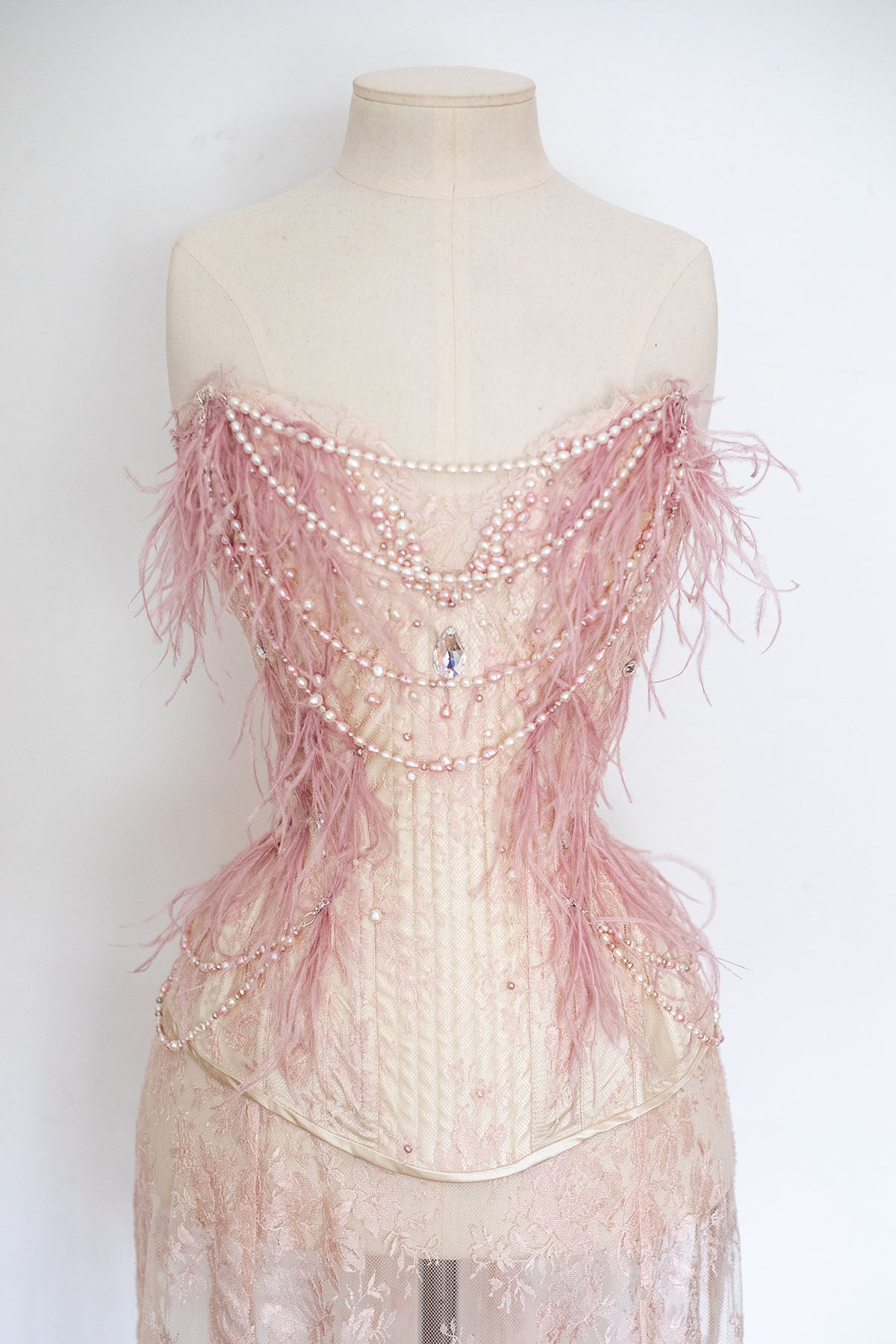 'Rosa' Silk & Lace Corset With Freshwater Pearls & Ostrich Feathers
