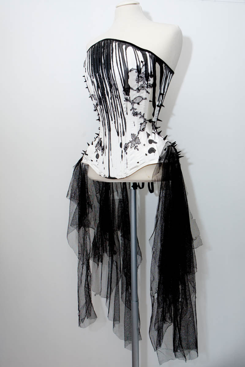 'Curse You All Men' Overbust Corset With Hand Painted Silk, Lace Appliqué & Beading