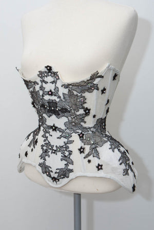 'Monochrome' Demi-cupped Corset In Bobbinet Tulle With Lace Appliqué