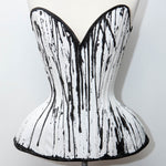 "SAMPLE Hand painted white coutil 'Bird's Wing' overbust corset - 22"" waist"