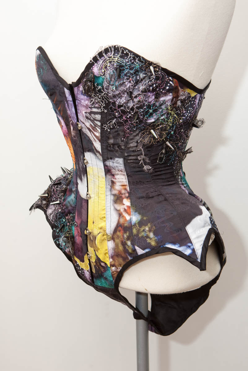 "SAMPLE Un|Seelie Floral Silk, Lace Appliqué, Swarovski & Spike Embellished Corset Body - 21"" Waist"