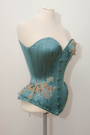 'Celestial' Satin Overbust Corset With Lace Appliqué & Beading